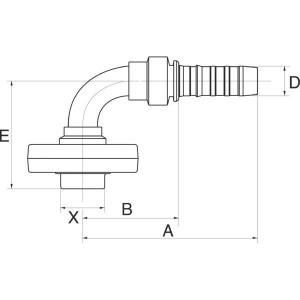 "Gates Pilaar Poclain 90° DN25-34mm - 16GS34MPFL90   1"" Inch   25 mm   126,3 mm   69,5 mm   89,3 mm   16GS34MPFL90"