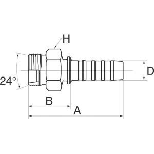 "Gates Pilaar MKB DN25-M45x1,5 - 16GS35MKB | 1"" Inch | 25 mm | 38,2 mm | M45 x 1,5 metrisch | 16GS35MKB"