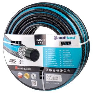"Cellfast Tuinslang Smart ATSV 1/2"" 25m - 1730261225 | Flexibel | Zwart met blauwe streep | Textiel | 1/2 Inch | 25 bar"