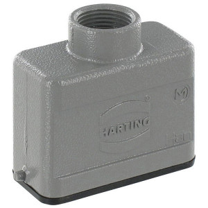 Harting Huis 10A M20 boveninvoer - 19200101440 | Lage bouwvorm | Han® A | 2 nokken | M 20 x 1,5 | IP65 IP | Aluminium