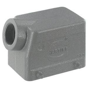 Harting Huis 32A M25 zijinvoer - 19200321521 | Lage bouwvorm | Han® A | 4 nokken | Lateraal | M 25 x 1,5 | IP65 IP | Aluminium | 82x56x60 mm