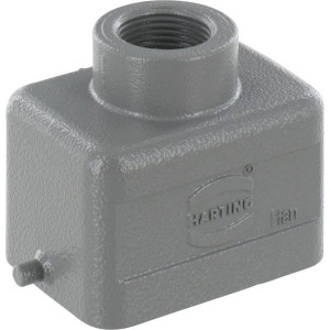 Harting Huis 6B M20 boveninvoer - 19300061440 | Lage bouwvorm | Han® B | 2 nokken | M 20 x 1,5 | IP65 IP | Aluminium | 6-13 mm | 60x43x40 mm