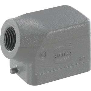 Harting Huis 6B M20 zijinvoer - 19300061540 | Lage bouwvorm | Han® B | 2 nokken | Lateraal | M 20 x 1,5 | IP65 IP | Aluminium | 60x43x46 mm | 6-13 mm