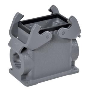 Harting Chassisdeel opbouw 10B 2xM32 - 19300100272 | Huis, opbouw | Hoge bouwvorm | Han® B | 2 klemhaken | Lateraal | M 32 x 1,5 | IP65 IP | Aluminium | 94x57x81 mm | 15-21 mm