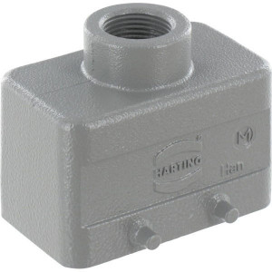Harting Huis 10B M20 boveninvoer - 19300101420 | Lage bouwvorm | Han® B | 4 nokken | M 20 x 1,5 | IP65 IP | Aluminium | 72.6x43x45 mm | 6-13mm mm