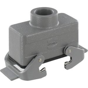 Harting Koppelhuis 16B M25 boveninvoer - 19300161731 | Lage bouwvorm | Han® B | 2 klemhaken | M 25 x 1,5 | IP65 IP | Aluminium | 9-17mm mm | kabel naar kabel | 93.5x43x47.5 mm