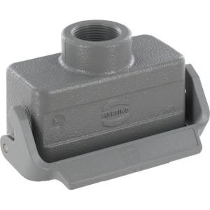 Harting Koppelhuis 16B M25 boveninvoer - 19300161751 | Lage bouwvorm | Han® B | 1 klemhaak | M 25 x 1,5 | IP65 IP | Aluminium | kabel naar kabel | 9-17mm mm | 93.5x43x47.5 mm