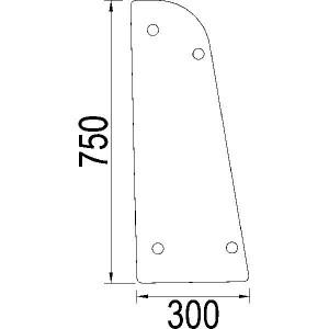 Zijruit - 1984536C1N | Links/rechts | 1984536C1 | Helder | 750 mm | 300 mm
