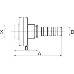 "Gates Pilaar Poclain DN32-42mm - 20GS42MPFL   1.1/4"" Inch   32 mm   172 mm   100,9 mm   20GS42MPFL"
