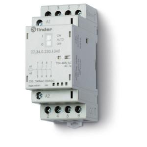 Finder Installatierelais 25A, 24V DC - 223400241340 | 25 A | 250 V | 24V DC V | 6.250 VA | 1.800 VA | 25/5/1 A | 1 (10/10) V/mA | 18/40 ms
