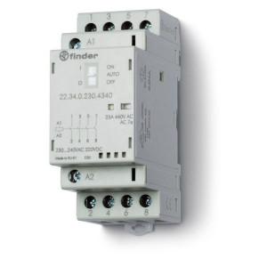 Finder Installatierelais 25A, 24V DC - 223400244340 | AgSnO2 | 25 A | 250 V | 24V DC V | 6.250 VA | 1.800 VA | 25/5/1 A | 1 (10/10) V/mA | 18/40 ms
