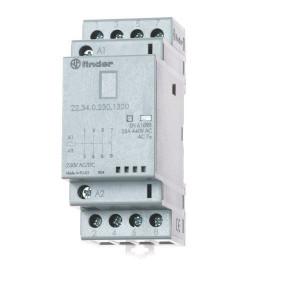 Finder Installatierelais 25A - 223402301320 | 25 A | 250 V | 230V AC V | 6.250 VA | 1.800 VA | 25/5/1 A | 1 (10/10) V/mA | 18/40 ms