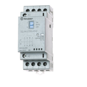 Finder Installatierelais 25A - 223402301720 | 25 A | 250 V | 230V AC V | 6.250 VA | 1.800 VA | 25/5/1 A | 1 (10/10) V/mA | 18/40 ms