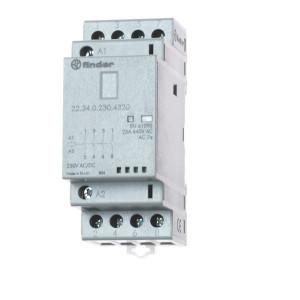 Finder Installatierelais 25A - 223402304320 | AgSnO2 | 25 A | 250 V | 230V AC V | 6.250 VA | 1.800 VA | 25/5/1 A | 1 (10/10) V/mA | 18/40 ms