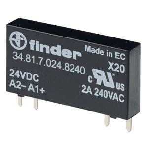 Finder SSR, 24VDC, uitg: 2A, 240VAC - 348170248240 | 24V DC V | 2 A | RT III | 275V AC V | 12 / 12 ms