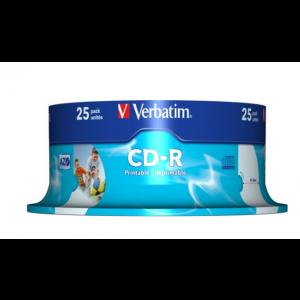 Verbatim Printable CD-R schijven, 700Mb / 80 minuten, snelheid 52x, 25 stuks, cakebox verpakking