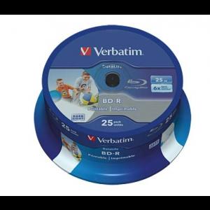 Verbatim Blu-ray schijf, BD-R, Printable, DataLife, 25 GB opslagruimte, snelheid 6x, 25 stuks, cakebox verpakking