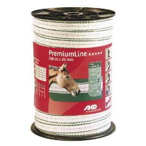 AKO Schriklint 20mm 200m wit/groen - 441534   Wit / groen   180 kg   0,08 Ohm Ohm/m   1 x 0,25 / 5 x 0,2 mm