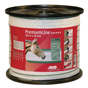 AKO Schriklint 38mm 200m wit/groen - 441535   Wit / groen   270 kg   0,05 Ohm Ohm/m   1 x 0,25 / 9 x 0,2 mm