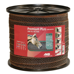 AKO Band Topline Plus 40 mm bruin - 449122   Voor lange afrasteringen   Bruin / oranje   350 kg   0,09 Ohm Ohm/m   0,40 mm