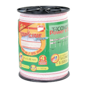 AKO Schriklint 20mm 200m wit/rood - 449551   Wit / rood   120 kg   0,374 Ohm Ohm/m   0,30 mm