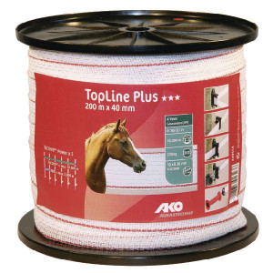 AKO Schriklint 40mm 200m wit/rood - 449554   Wit / rood   230 kg   0,187 Ohm Ohm/m   0,30 mm