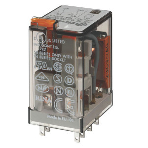 Finder Relais 2-polig, 12V DC - 553290120040 | 12V DC V | 10 A | 400 V | 2.500 VA | 500 VA | 0,37 kW | 10/0,25/0,12 A | 300 (5/5) V/mA | 9/3 ms