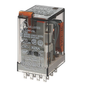 Finder Relais 4-P 24V/AC - 553480240050 | 24V AC V | 7 A | 250 V | 1.750 VA | 350 VA | 0,125 kW | 7/0,25/0,12 A | 300 (5/5) V/mA | 9/3 ms