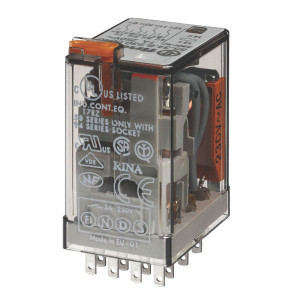 Finder Relais 4-P 110V/AC - 553481100050 | 110V AC V | 7 A | 250 V | 1.750 VA | 350 VA | 0,125 kW | 7/0,25/0,12 A | 300 (5/5) V/mA | 9/3 ms
