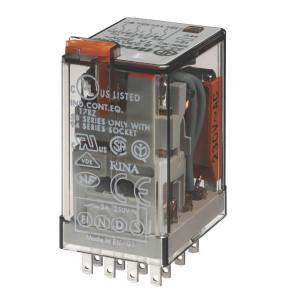 Finder Relais 4-p 24V DC - 553490240090 | 24V DC V | 7 A | 250 V | 1.750 VA | 350 VA | 0,125 kW | 7/0,25/0,12 A | 300 (5/5) V/mA | 9/3 ms