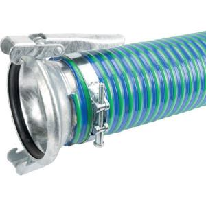 """Koppelslang blauw/groen 6"""" 3m - 6000503BAZ   Blauw met groene strepen   PVC spiraal   152 mm   6 Inch   610 mm   0,9 bar   5.000 g/m   170,4 mm"""