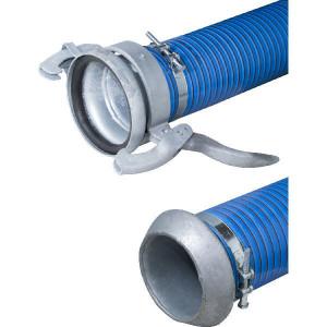 """Koppelslang blauw/rood 6"""" 6m - 6000806KOP   Blauw met rode strepen   PVC spiraal   152 mm   6 Inch   8,9 mm   600 mm   0,9 bar   4.400 g/m   170,2 mm"""