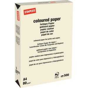 Staples Papier A4 créme 500v - 600301ST | 210x297 mm