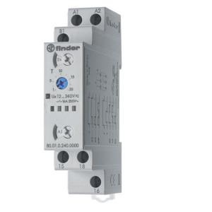 Finder multifunct. tijdrelais - 800102400000 | 16 A | 400 V | 12 ... 240V AC/DC V | 4.000 VA | 750 VA | 0,55 kW | 500 (10/5) V/mA |