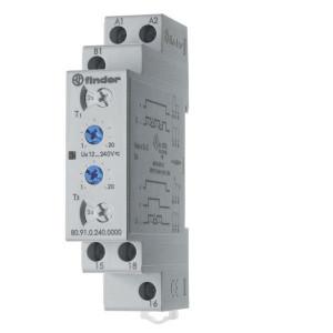 Finder Asymmetrische impulsgever tijdrelais - 809102400000 | 16 A | 400 V | 12 ... 240V AC/DC V | 4.000 VA | 750 VA | 0,55 kW | 500 (10/5) V/mA |