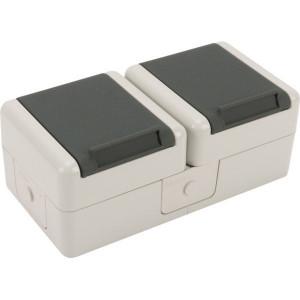 Schuko-dubbele contactdoos 16A - 8220W | 44 IP