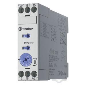 Finder Tijdrelais 8A 24-240V/AC - 870102400000 | 8 A | 400 V | 2.000 VA | 400 VA | 0,185 kW | 8 / 0,5 / 0,2 A | 300 (10/5) V/mA | 0,05s ...... 60h | 50 ms