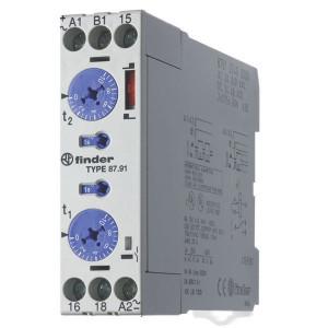 Finder Tijdrelais 24-240V/AC - 879102400000 | 8 A | 400 V | 2.000 VA | 400 VA | 0,185 kW | 8 / 0,5 / 0,2 A | 300 (10/5) V/mA | 0,05s ...... 60h | 50 ms