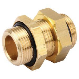 Wabco Schotkoppeling met borgmoer - 8931042962 | Vervaardigd van messing | M22x1,5 / M22x1,5 | M 16x1,5 | 28 mm