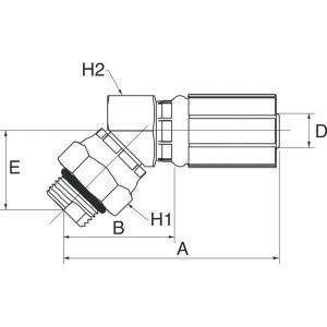 "Gates Pilaar DN13-3/4 SAE 45° - 8G8MBX45 | 1/2"" Inch | 12 mm | 77,2 mm | 39,7 mm | 28,4 mm | 25,4 mm | 25,4 mm | 3/4"" 16 UNF | 8G8MBX45"