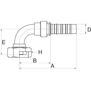 """Gates Pilaar 90° DN13-M24x1,5 - 8GS17FFGX90   1/2"""" Inch   12 mm   76,1 mm   38,7 mm   37,8 mm   M24 x 1.5 Gaz   8GS17FFGX90"""