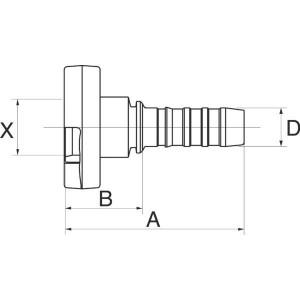 "Gates Pilaar Poclain DN13-17mm - 8GS17FPFL   1/2"" Inch   12 mm   31,5 mm   8GS17FPFL"