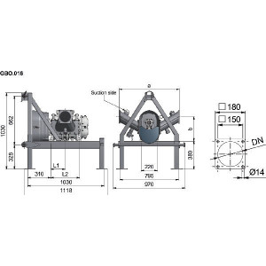 Lobbenpomp FX116-240S + frame - APK0000109 | 6 Inch | 4,64 l | 3.000 l/min | 180 m³/h | 650 Rpm | 481 Nm | GBO.019 | 150 mm | 812 mm | 330 mm | 165 mm | 331 mm | 160 kg