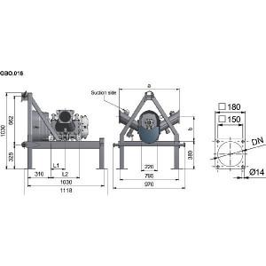 Lobbenpomp FX116-180S + frame - APK0000195 | 6 Inch | 3,48 l | 2.250 l/min | 135 m³/h | 650 Rpm | 373 Nm | GBO.019 | 150 mm | 912 mm | 330 mm | 135 mm | 271 mm | 146 kg