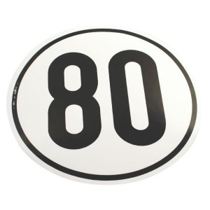 Sticker 80 km Duits model - BF80 | Sticker | 80 km/h | Ø 200 mm