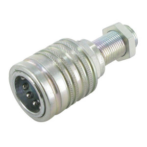"Faster Koppelhuis 1/2-M18x1,5-12L-schot - CPV0851815F | Carbonstaal | NBR / PTFE | Wit gepassiveerd | M18x1,5-12L | 1/2"" | 75 l/min | 300 bar | 83,3 mm | 12L Schot | 12,2 mm"