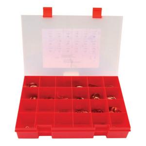 Assortimentsdoos koperen ringen - CU7001 | 415 koperen ringen | Zacht gegloeid rood koper | Vlgs DIN 2691