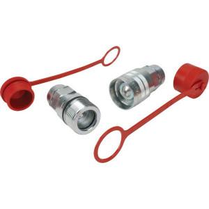 Faster Snelkoppeling male/female met stofpluggen - CVV1234MFSKS9MFKIT | Viton / PTFE | ISO 14541 | Wit gepassiveerd | 3/4 BSP