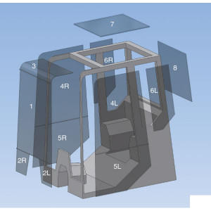 Schuifruit deur, achter, boven - D10138 | 71N6-02540 | gehard | 735 mm | 425 mm