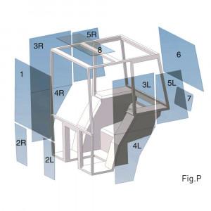 Hoekraam - D7016 | 3233 041R1, 3233 041R2 | groen getint | Rechts | 655 mm | 420 mm | gebogen